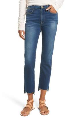 Frame Le High Straight High Waist Raw Stagger Jeans