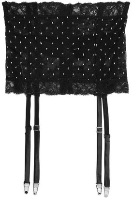 Sparkles Stretch Leavers Lace And Swiss-dot Tulle Suspender Belt - Black