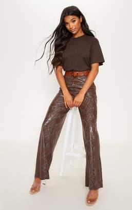 757a6dc7d73 PrettyLittleThing Dark Brown Faux Leather Snakeskin Wide Leg Trouser