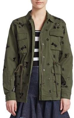 Scripted Scripted Men's Embellished Multi-Pocket Cargo Jacket - Rio Green - Size XS
