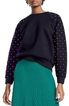 Maje Tiller Studded & Quilted Sleeve Sweatshirt
