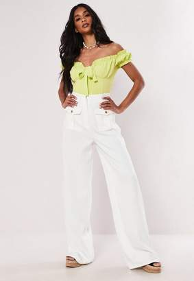 Missguided Tall White Belted Wide Leg Pants
