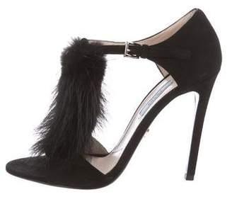 Prada Fur-Trimmed T-Strap Sandals