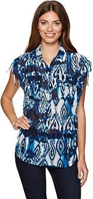 Jones New York Women's Tribal Ikat PRT Button up with Cording