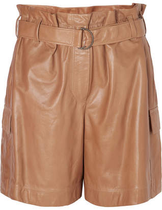 Brunello Cucinelli Belted Leather Shorts - Brown