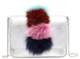 Loeffler Randall Lock Fox Fur Trimmed Leather Shoulder Bag