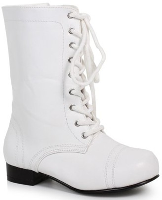 Ellie Shoes Children's White Ankle Combat Boot