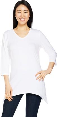 Denim & Co. Essentials 3/4 Sleeve Knit Tunic with Trapeze Hem