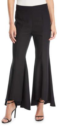 Neiman Marcus Flounce-Hem Wide-Leg Pants