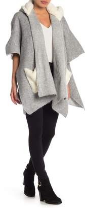 Steve Madden Faux Fur Hooded Cardigan