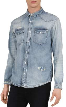 The Kooples Distressed Denim Regular Fit Button-Down Shirt