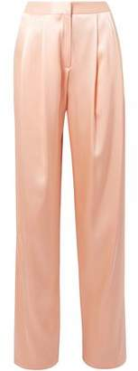ADAM by Adam Lippes Pleated Silk-Charmeuse Wide-Leg Pants