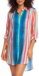 La Blanca Solar Stripe Long Sleeve Cover-Up Shirtdress