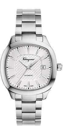 Salvatore Ferragamo Men's 'FERRAGAMO SQUARE' Swiss Quartz Stainless Steel Casual Watch, Color:-Toned (Model: FFW040017)
