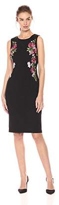 Adrianna Papell Women's Knit Crepe Embroidered Sheath