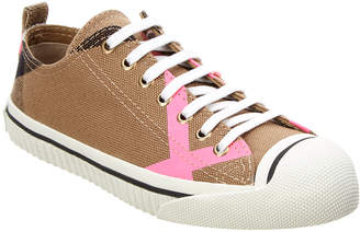 Burberry Canvas Check & Leather Low-Top Sneaker