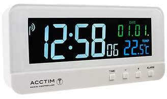 Acctim Radio Controlled LCD Alarm Clock, White