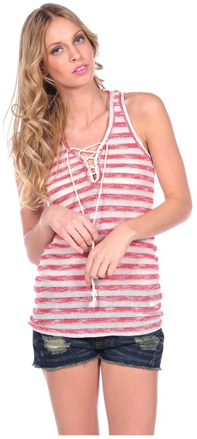 Vintage Havana Stripe Knit Rope Tank