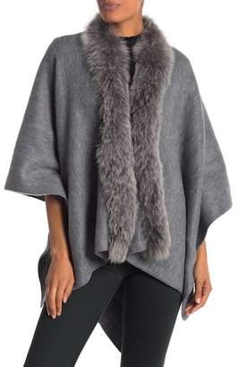 La Fiorentina Acrylic Fox Fur Trim Wrap