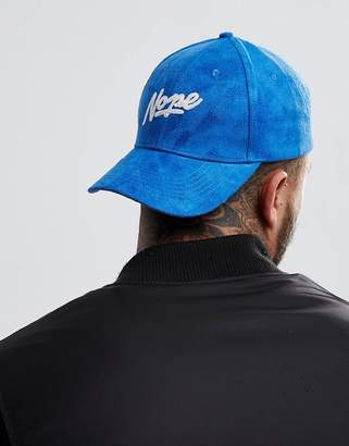 Asos Baseball Cap In Blue Faux Suede With Nope Slogan