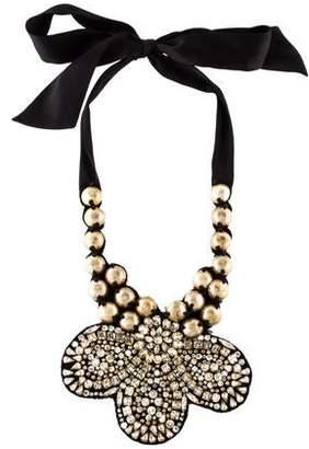 Ranjana Khan Crystal Fabric Bib Collar Necklace