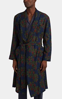 Barneys New York Men's Floral-Grape-Pattern Wool Robe - Blue