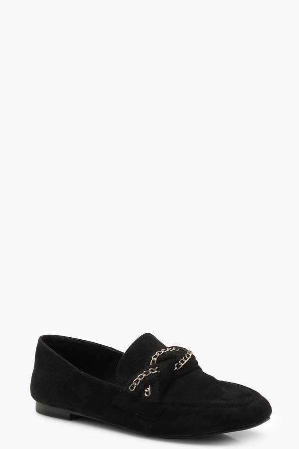 boohoo Plait & Chain Detail Loafers