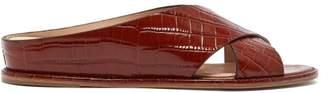 Gabriela Hearst Ellington Embossed Crocodile Effect Leather Slides - Womens - Tan