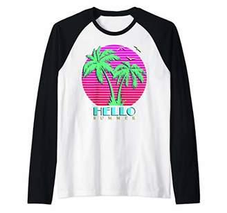 Hello Summer 80s Palm Trees Summer Sunset Raglan Baseball Tee