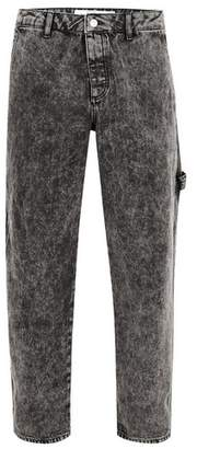 Topman Mens Grey Acid Wash Carpenter Jeans