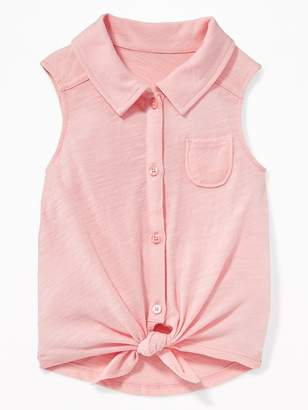 Old Navy Tie-Hem Button-Front Top for Toddler Girls