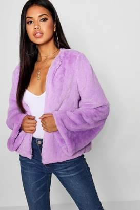 boohoo Wide Sleeve Faux Fur Coat
