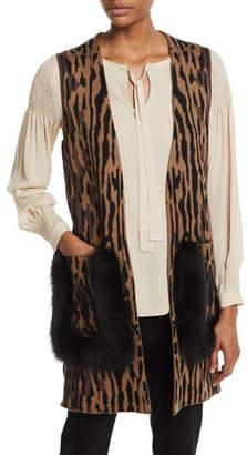Ginette Kobi Halperin Animal-Print Sweater Vest with Fur Trim