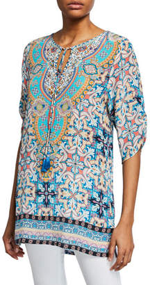 Tolani Plus Size Amalfi Tile-Print 3/4-Sleeve Long Silk Tunic
