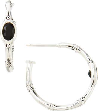 John Hardy Batu Bamboo Small Hoop Black Chalcedony Earrings