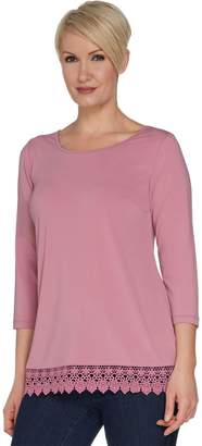 Joan Rivers Classics Collection Joan Rivers 3/4 Sleeve Knit Top with Crochet Trim