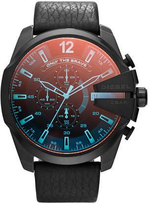 Diesel Men Chronograph Mega Chief Iridescent Crystal Black Leather Strap Watch 51mm DZ4323