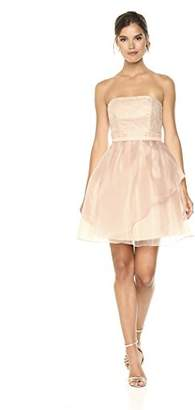 Cambridge Silversmiths The Collection Women's Lace Bodice with Organza Flounce Short Dress 6