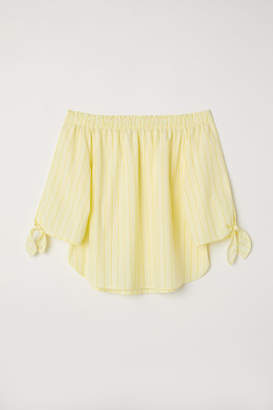 H&M Off-the-shoulder Top - Yellow