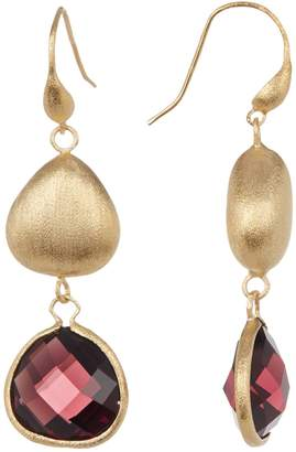 Rivka Friedman 18K Gold Clad Faceted Tourmaline Crystal Satin Teardrop Pebble Earrings