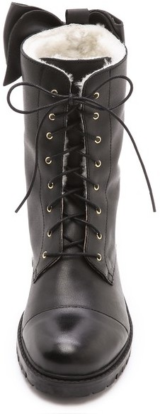 RED Valentino Lace Up Booties with Shearling