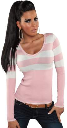 KouCla Sexy Women's Striped Jumper Ladies Casual Sweater 6, 8, 10, 12 US