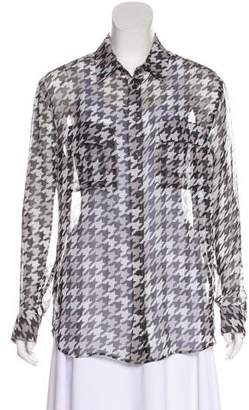 Equipment Houndstooth Print Silk Top