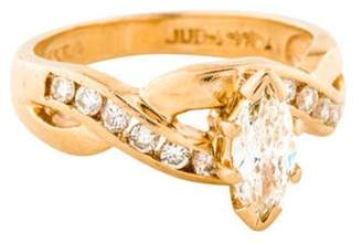 14K Marquise Diamond Engagement Ring yellow 14K Marquise Diamond Engagement Ring