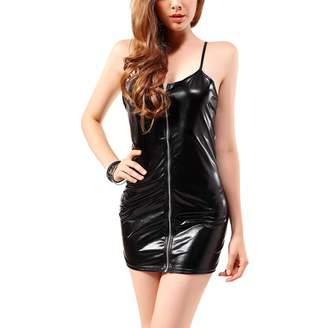 f7c992305e Oliveya Womens Hot Sleeveless Wet Look Metallic Tube Dress for Clubwear M