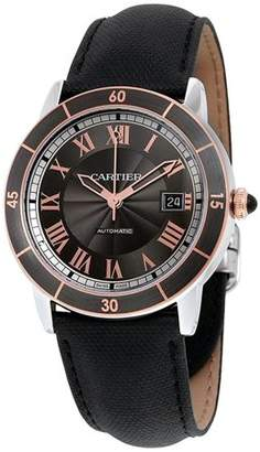 Cartier Men's 42mm Black Leather Band Steel Case Automatic Grey Dial Analog Watch W2RN0005