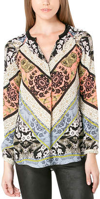 Hale Bob Axelle Peach Printed Beaded Silk Tunic