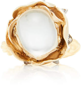 Sylvie Corbelin 18K Gold Oxidized Silver Moonstone and Diamond Ring
