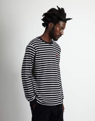 Carhartt WIP Long Sleeve Robie Striped T-Shirt Dark Navy & Beige