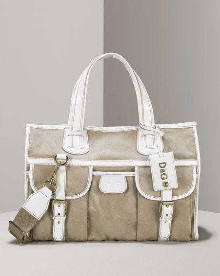 D&G Dolce & Gabbana Linen & Patent Tote
